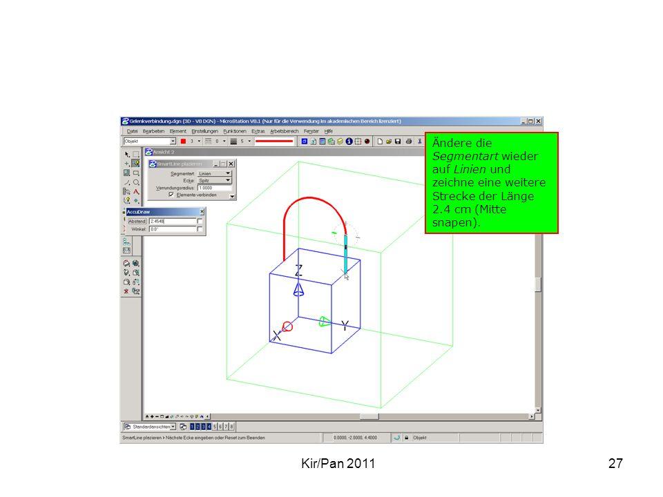 Ändere die Segmentart wieder auf Linien und zeichne eine weitere Strecke der Länge 2.4 cm (Mitte snapen).