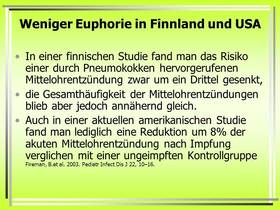 Weniger Euphorie in Finnland und USA