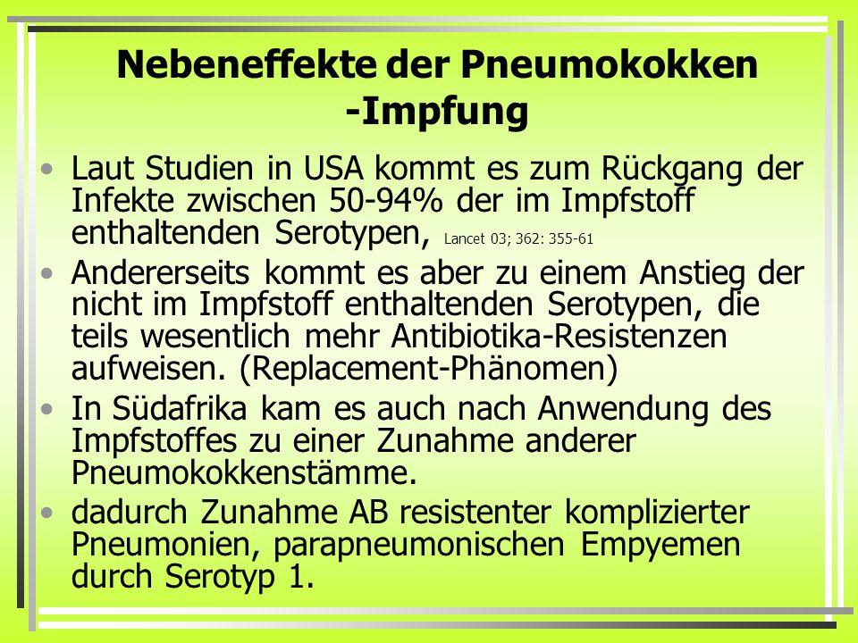 Nebeneffekte der Pneumokokken -Impfung