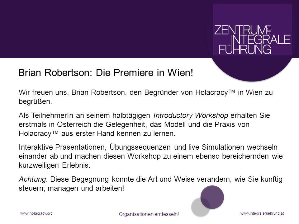 Brian Robertson: Die Premiere in Wien! interaktiver Workshop