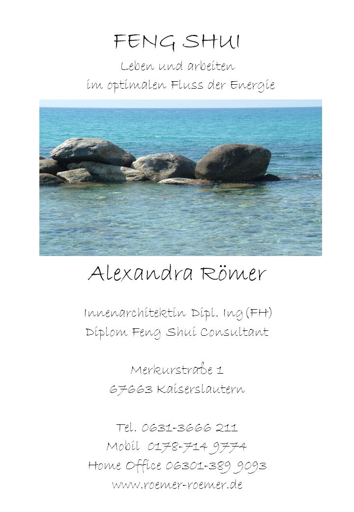 FENG SHUI Alexandra Römer Leben und arbeiten