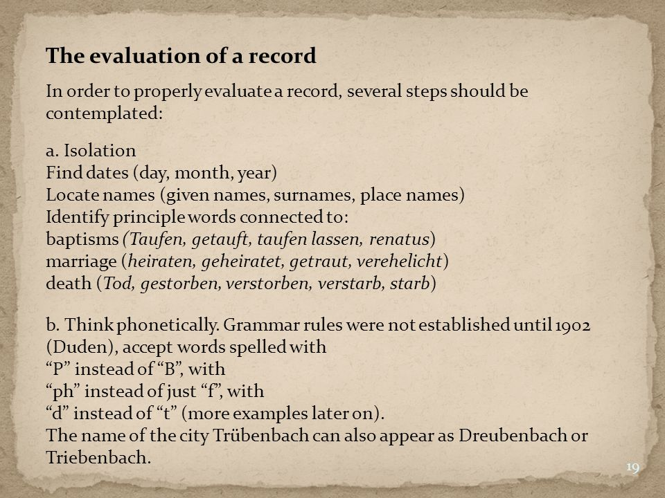 The evaluation of a record