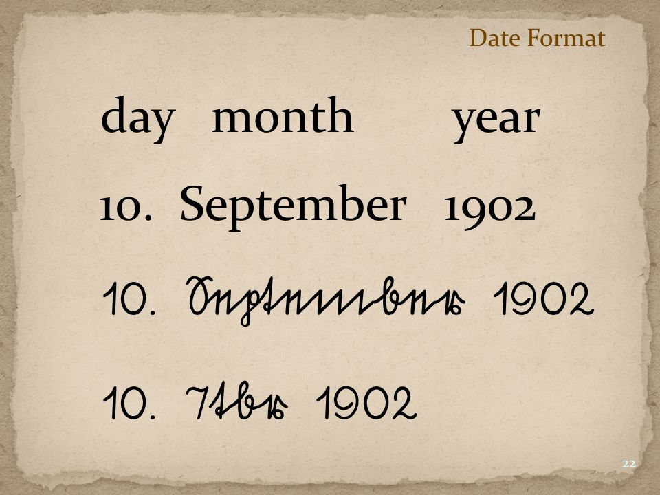 10. September 1902 10. 7tbr 1902 day month year 10. September 1902