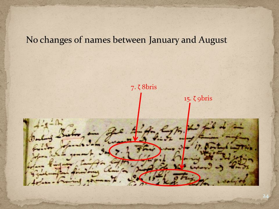 No changes of names between January and August