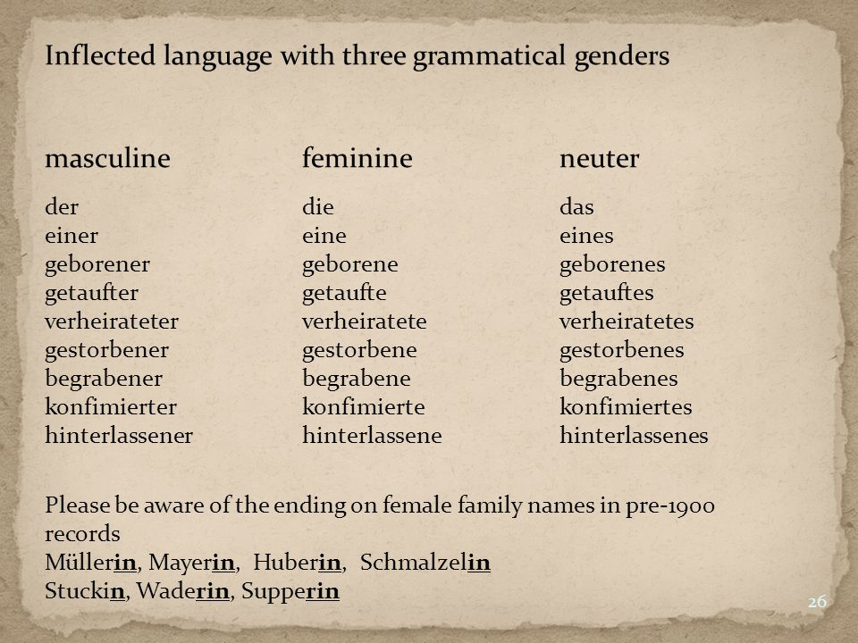 Inflected language with three grammatical genders