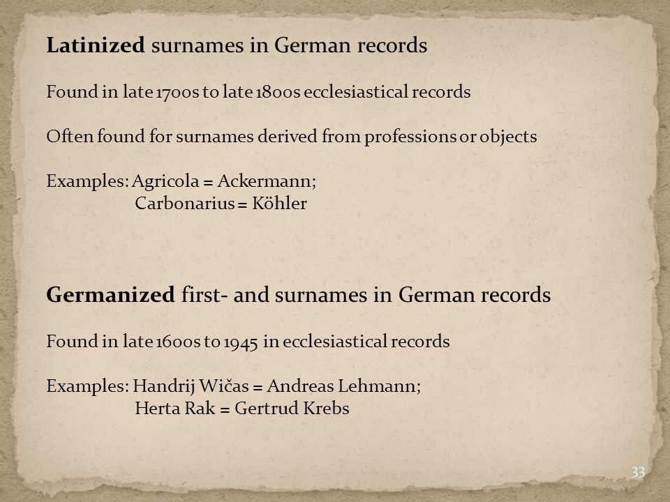 Latinized surnames in German records