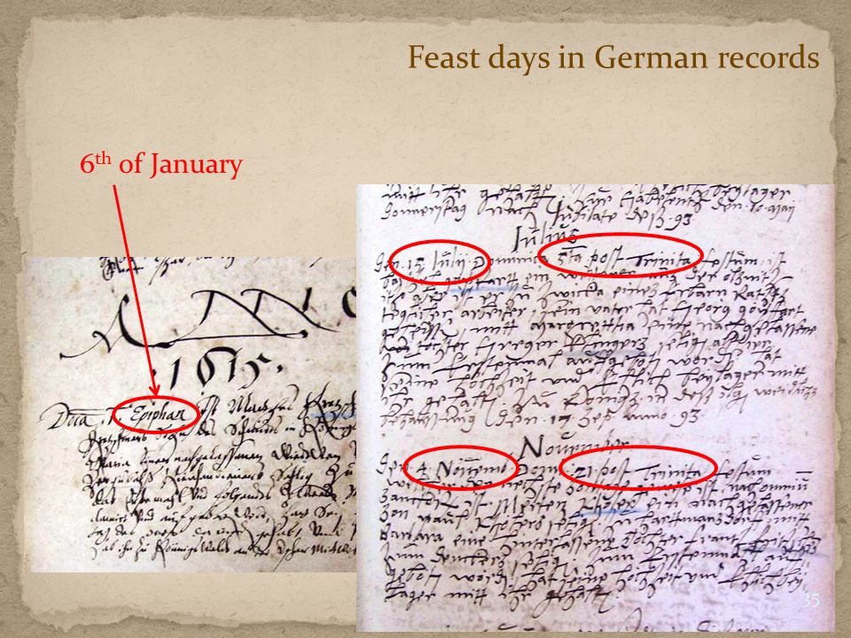 Feast days in German records