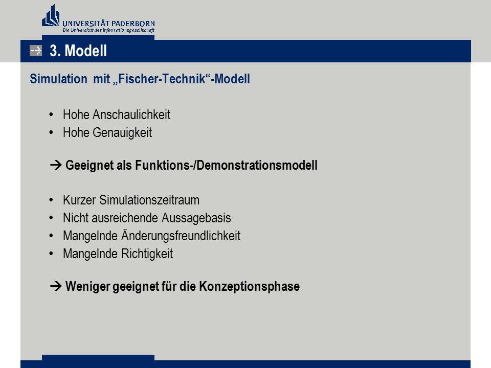 """3. Modell Simulation mit """"Fischer-Technik -Modell Hohe Anschaulichkeit"""