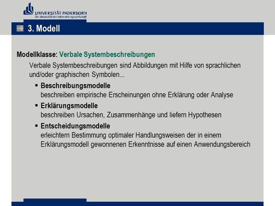 3. Modell Modellklasse: Verbale Systembeschreibungen