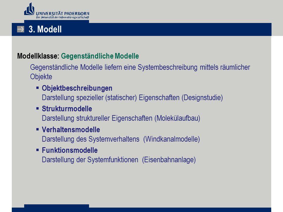 3. Modell Modellklasse: Gegenständliche Modelle