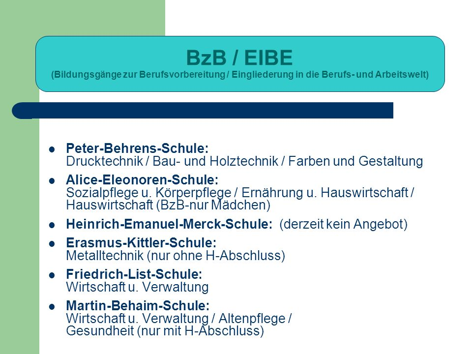 BzB / EIBE (Bildungsgänge zur Berufsvorbereitung / Eingliederung in die Berufs- und Arbeitswelt)