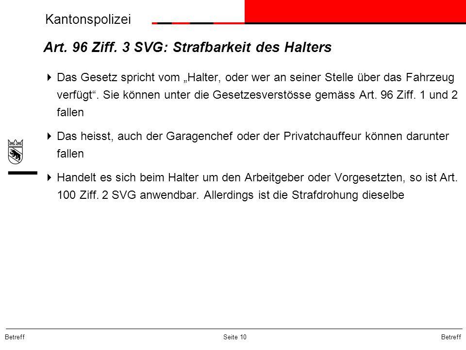 Art. 96 Ziff. 3 SVG: Strafbarkeit des Halters