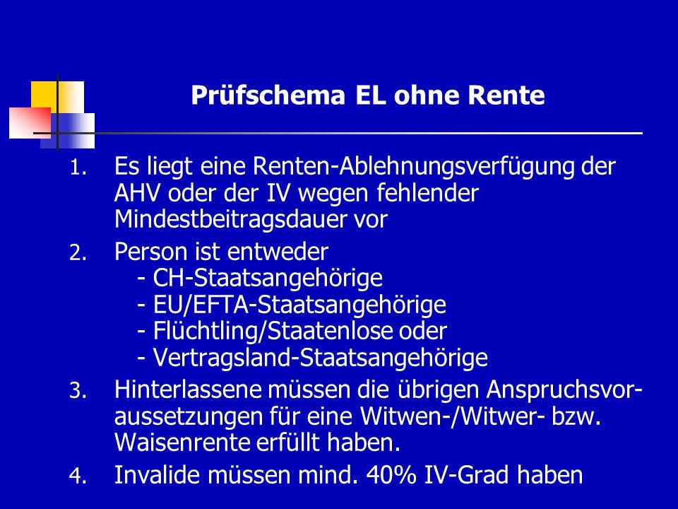 Prüfschema EL ohne Rente