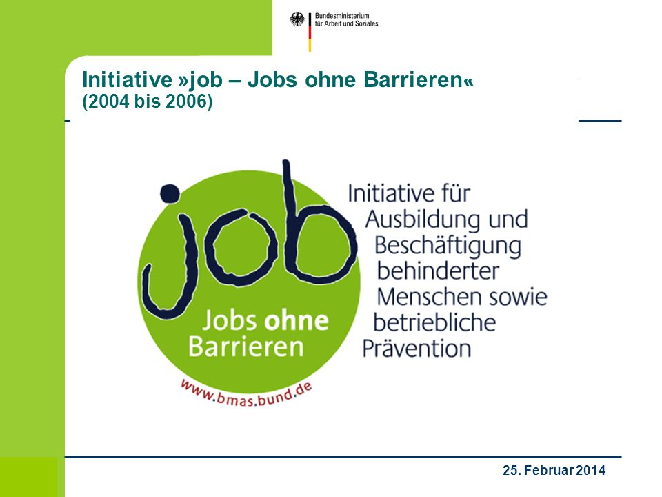 Initiative »job – Jobs ohne Barrieren« (2004 bis 2006)