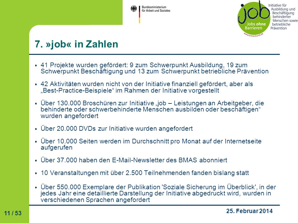 7. »job« in Zahlen