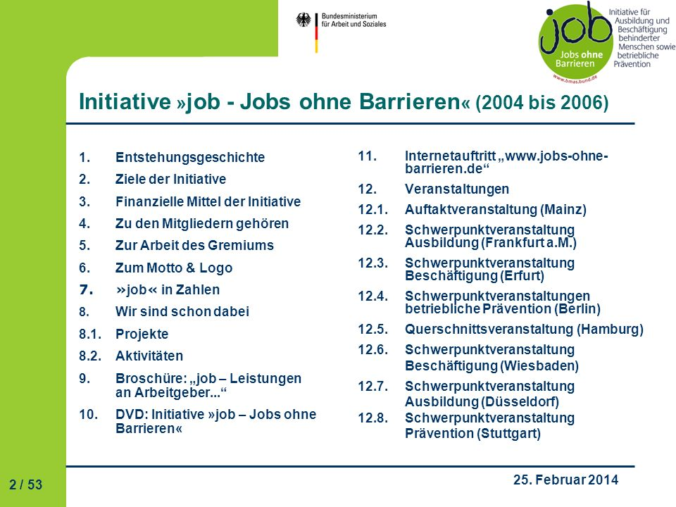 Initiative »job - Jobs ohne Barrieren« (2004 bis 2006)