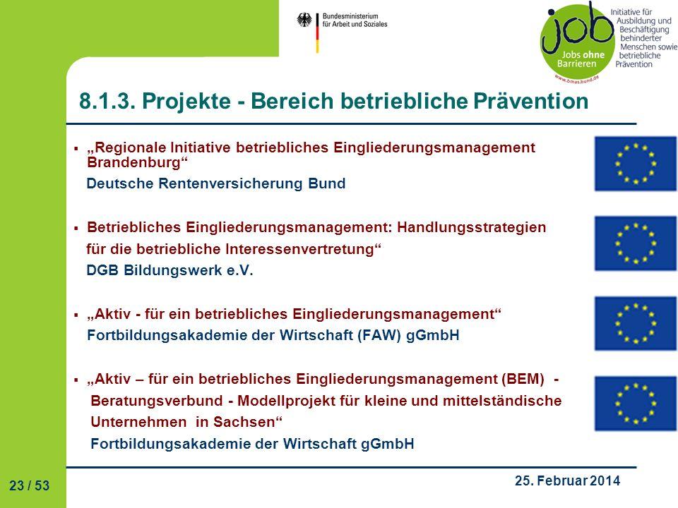 8.1.3. Projekte - Bereich betriebliche Prävention