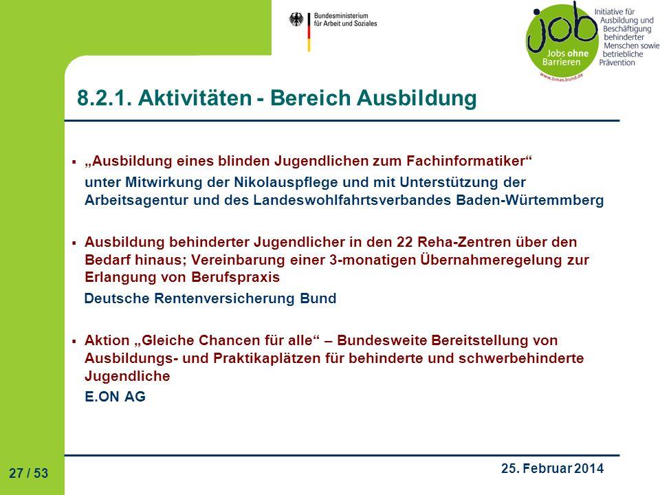 8.2.1. Aktivitäten - Bereich Ausbildung