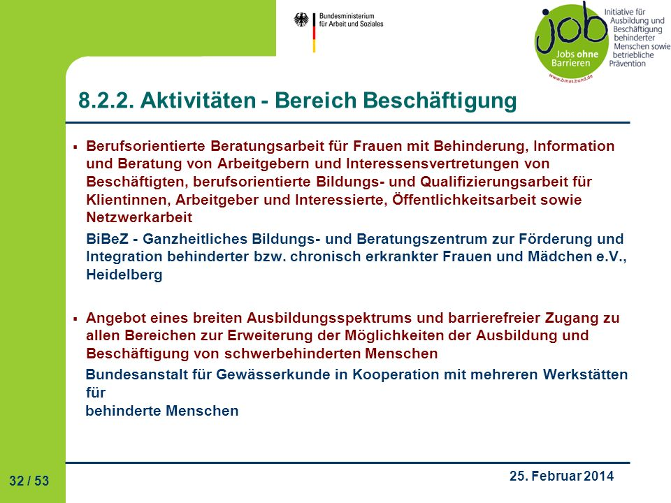 8.2.2. Aktivitäten - Bereich Beschäftigung