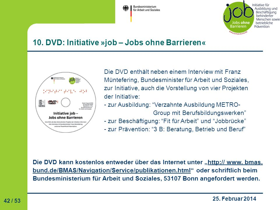 10. DVD: Initiative »job – Jobs ohne Barrieren«