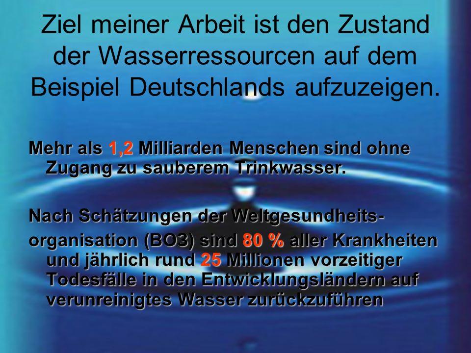 Ziel meiner Arbeit ist den Zustand der Wasserressourcen auf dem Beispiel Deutschlands aufzuzeigen.