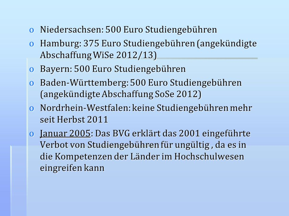 Niedersachsen: 500 Euro Studiengebühren