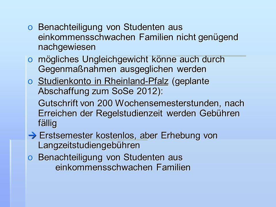 Benachteiligung von Studenten aus einkommensschwachen Familien nicht genügend nachgewiesen
