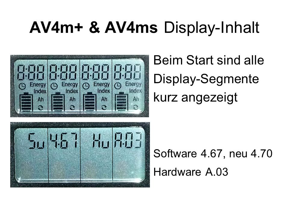AV4m+ & AV4ms Display-Inhalt