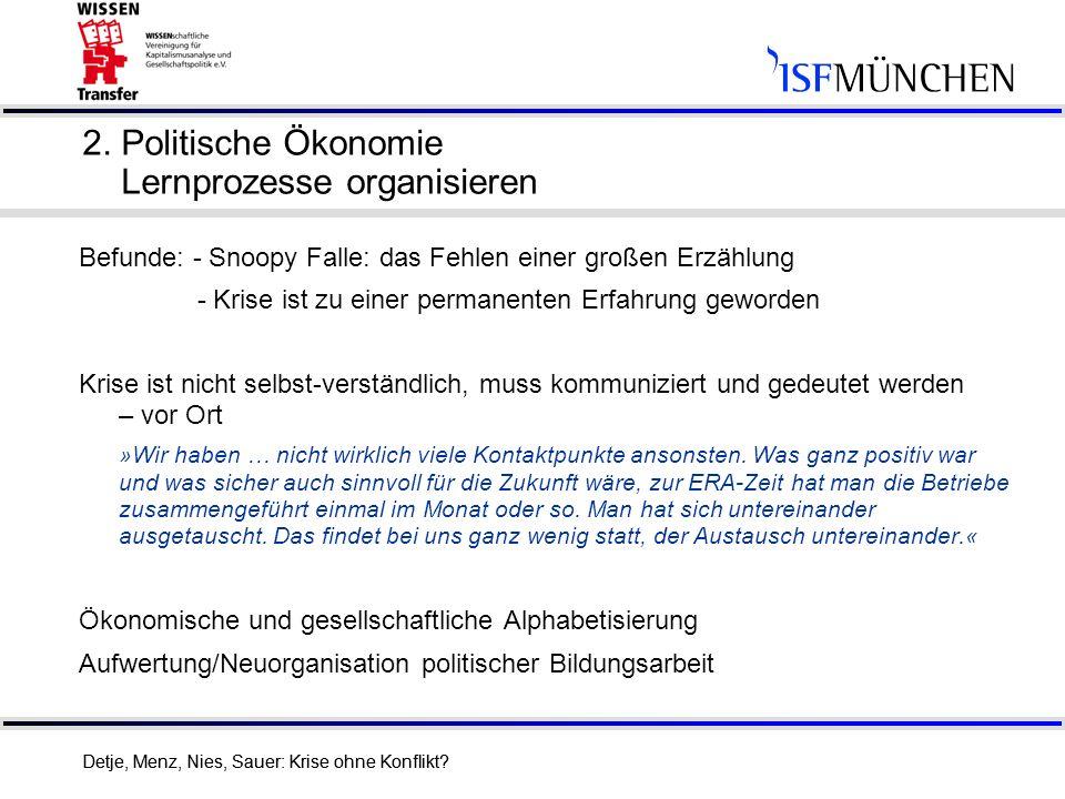 2. Politische Ökonomie Lernprozesse organisieren