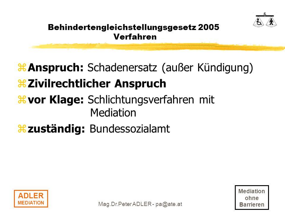 Behindertengleichstellungsgesetz 2005 Verfahren
