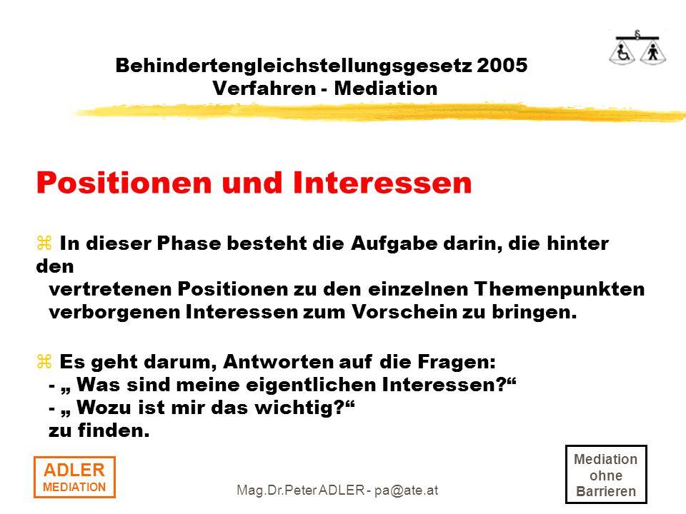 Behindertengleichstellungsgesetz 2005 Verfahren - Mediation