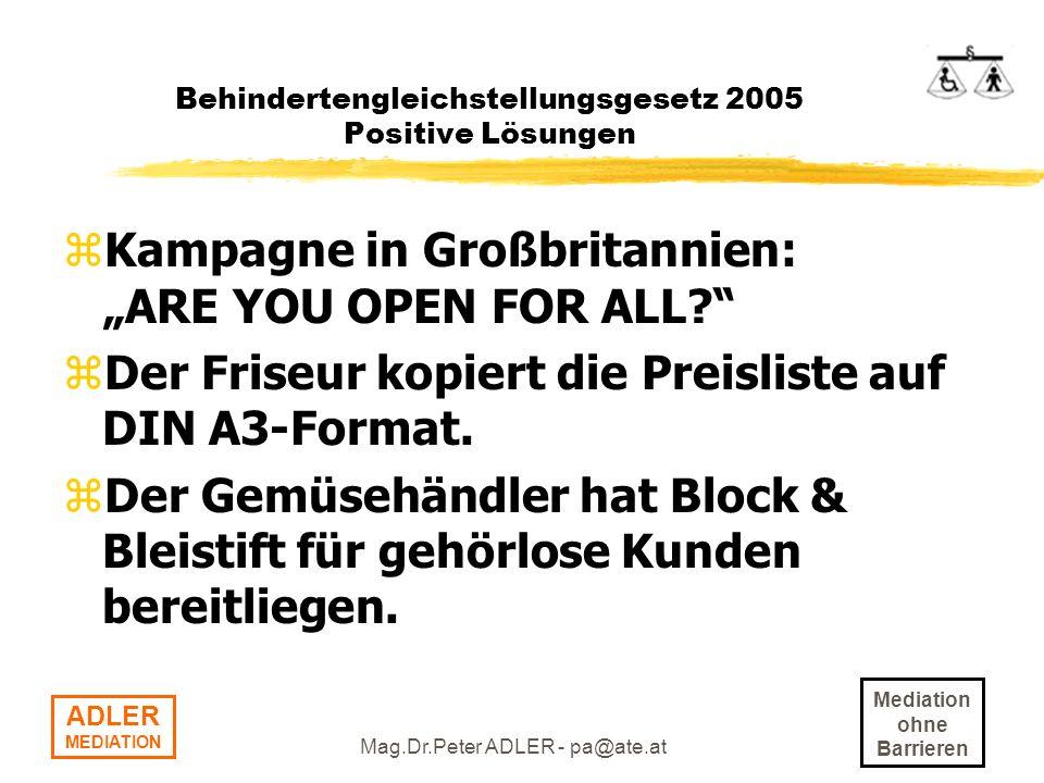 Behindertengleichstellungsgesetz 2005 Positive Lösungen