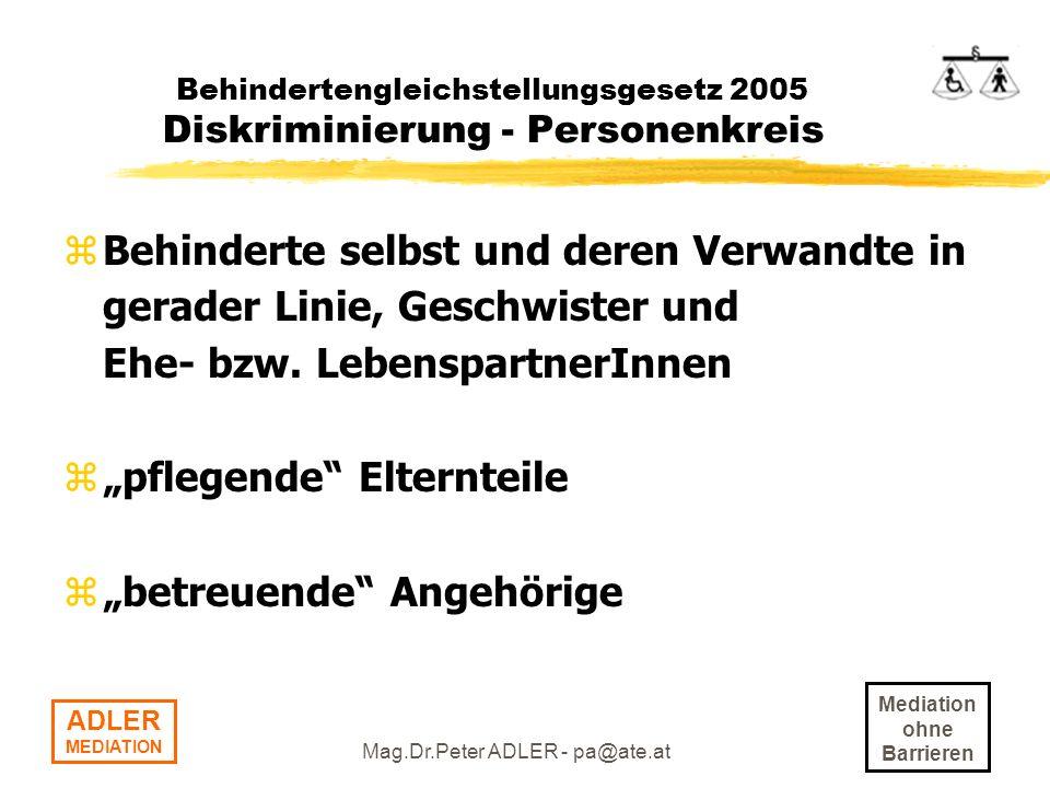 Behindertengleichstellungsgesetz 2005 Diskriminierung - Personenkreis