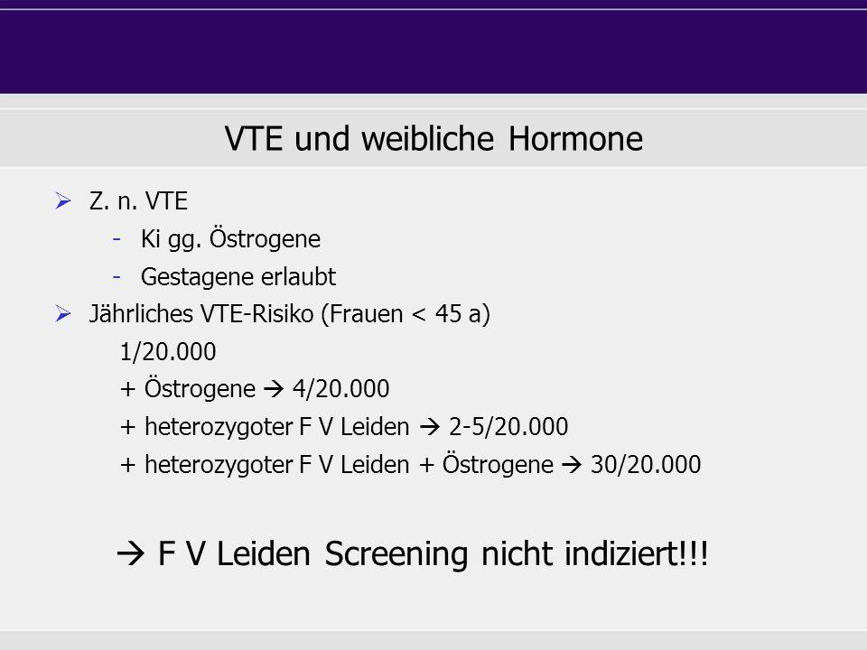 VTE und weibliche Hormone