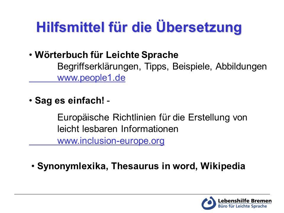 Hilfsmittel für die Übersetzung