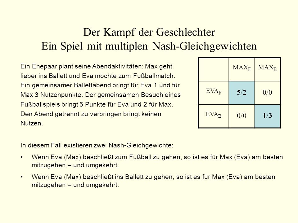 Der Kampf der Geschlechter Ein Spiel mit multiplen Nash-Gleichgewichten