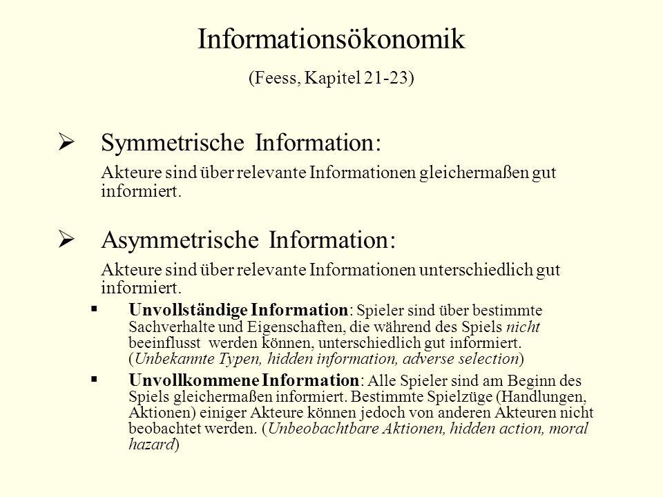 Informationsökonomik (Feess, Kapitel 21-23)