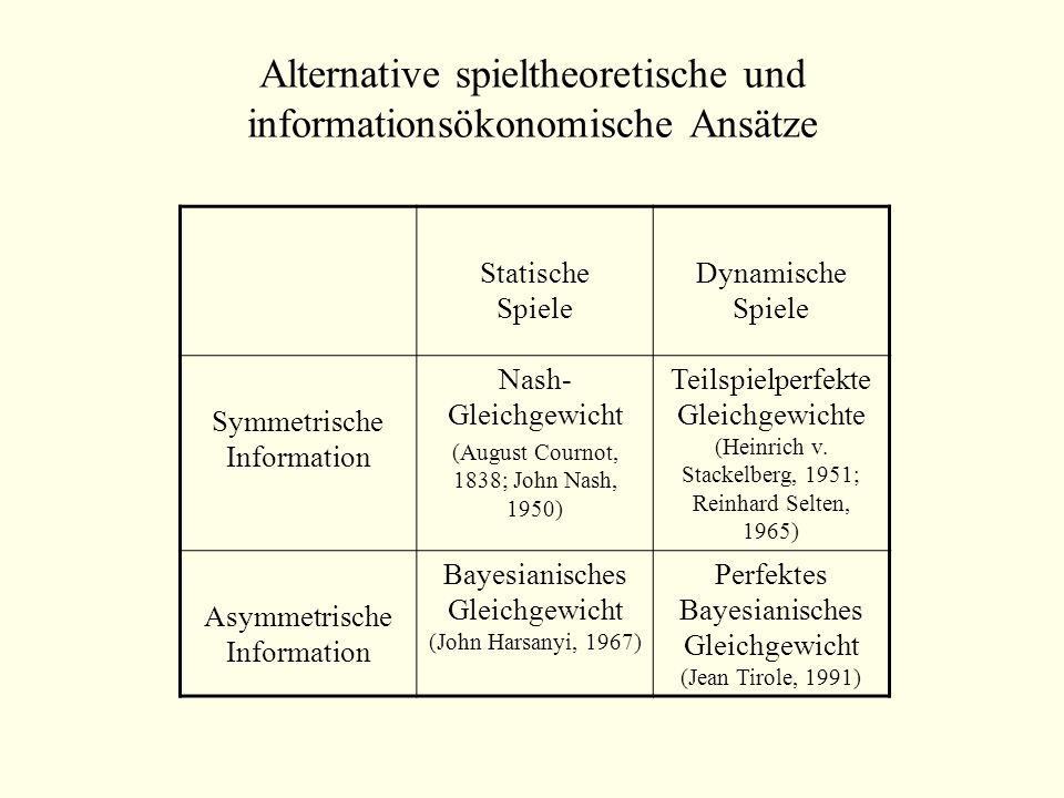 Alternative spieltheoretische und informationsökonomische Ansätze