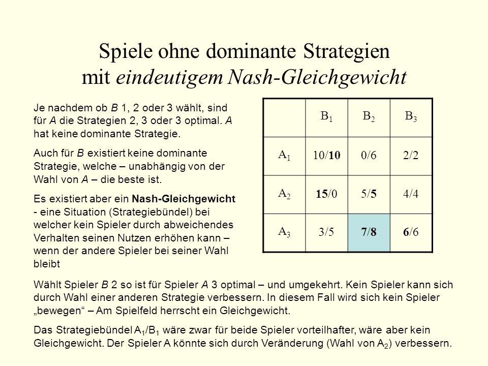 Spiele ohne dominante Strategien mit eindeutigem Nash-Gleichgewicht