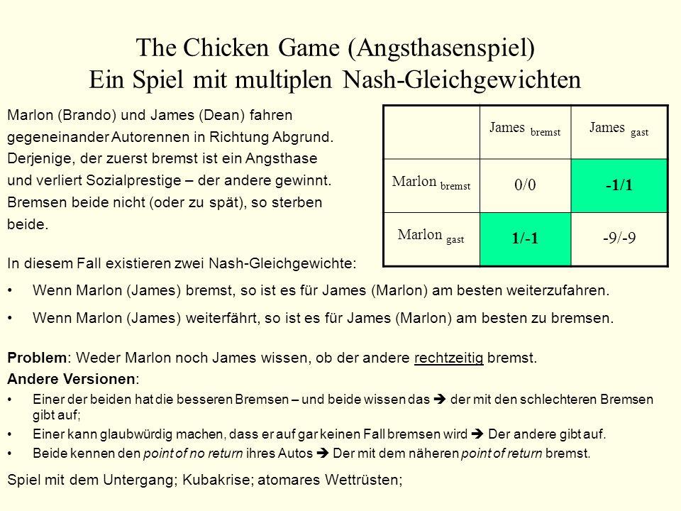 The Chicken Game (Angsthasenspiel) Ein Spiel mit multiplen Nash-Gleichgewichten