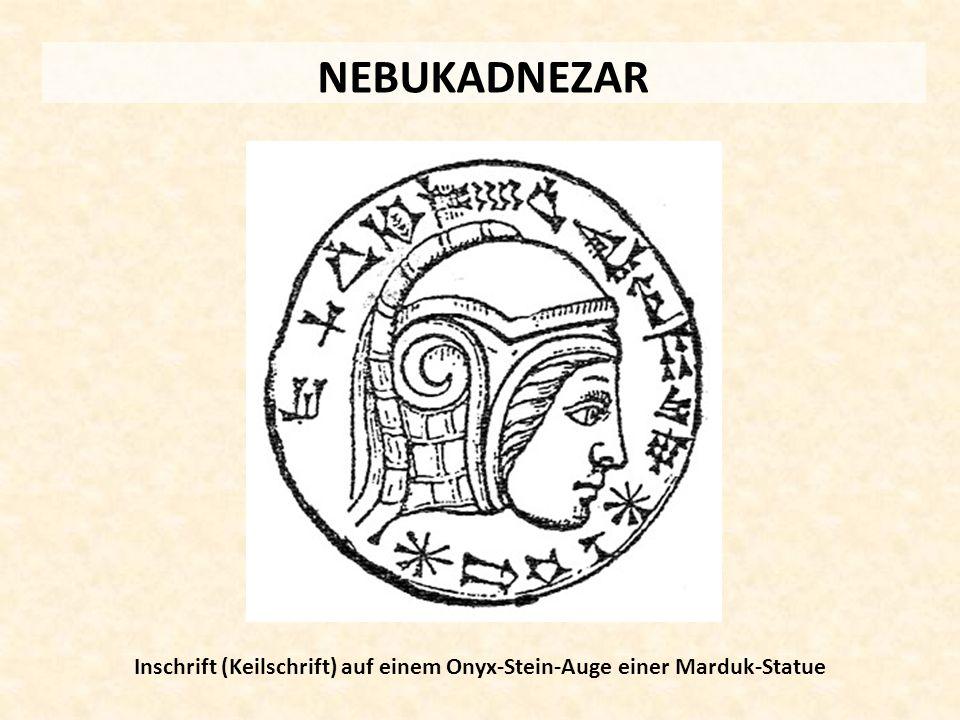 Inschrift (Keilschrift) auf einem Onyx-Stein-Auge einer Marduk-Statue
