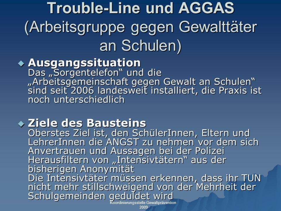 Trouble-Line und AGGAS (Arbeitsgruppe gegen Gewalttäter an Schulen)