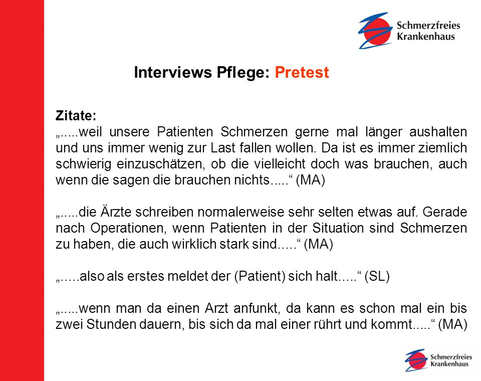 Interviews Pflege: Pretest