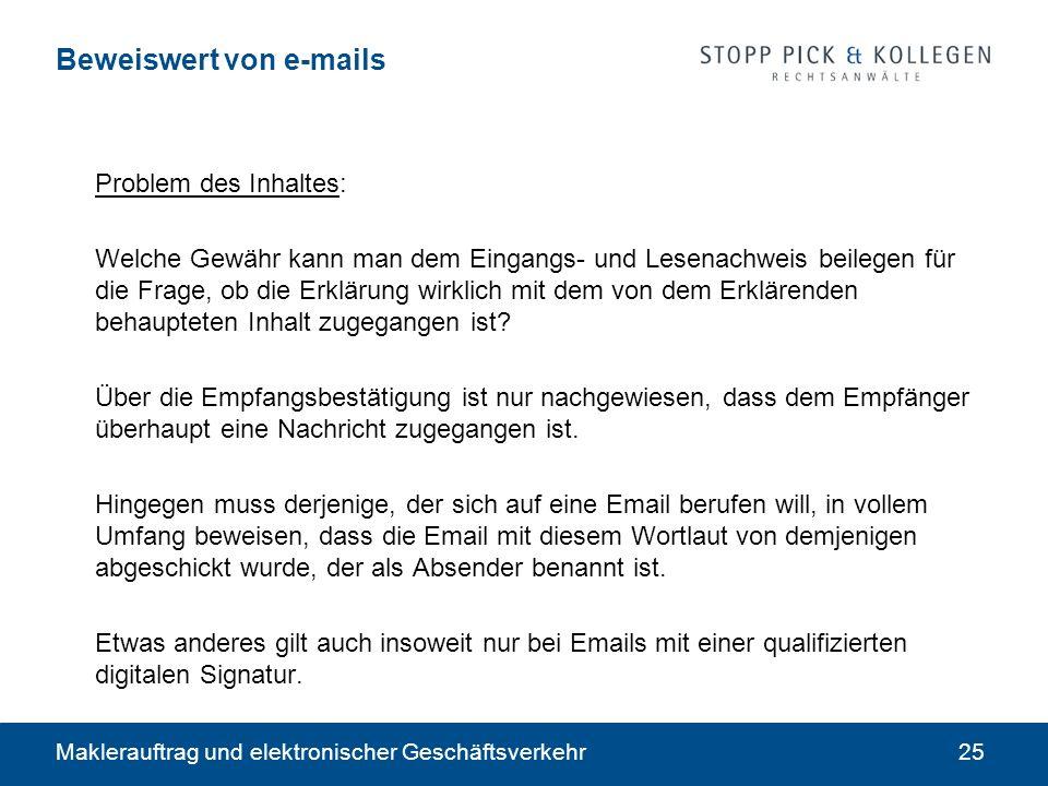 Beweiswert von e-mails