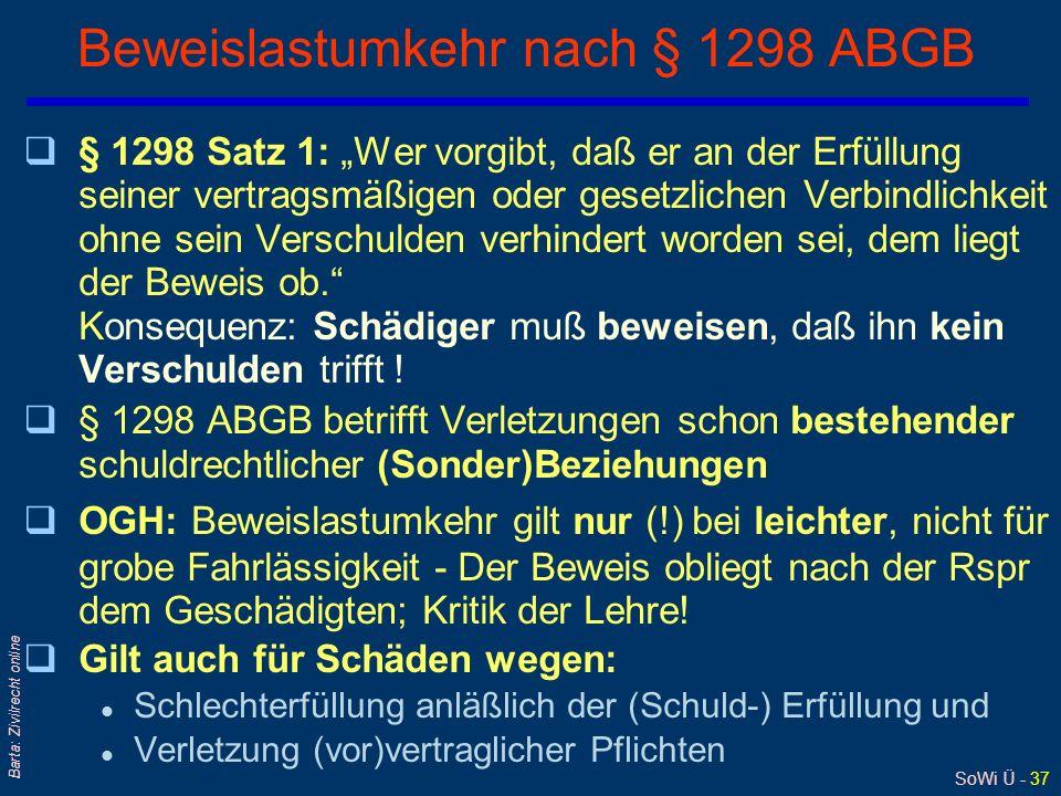 Beweislastumkehr nach § 1298 ABGB