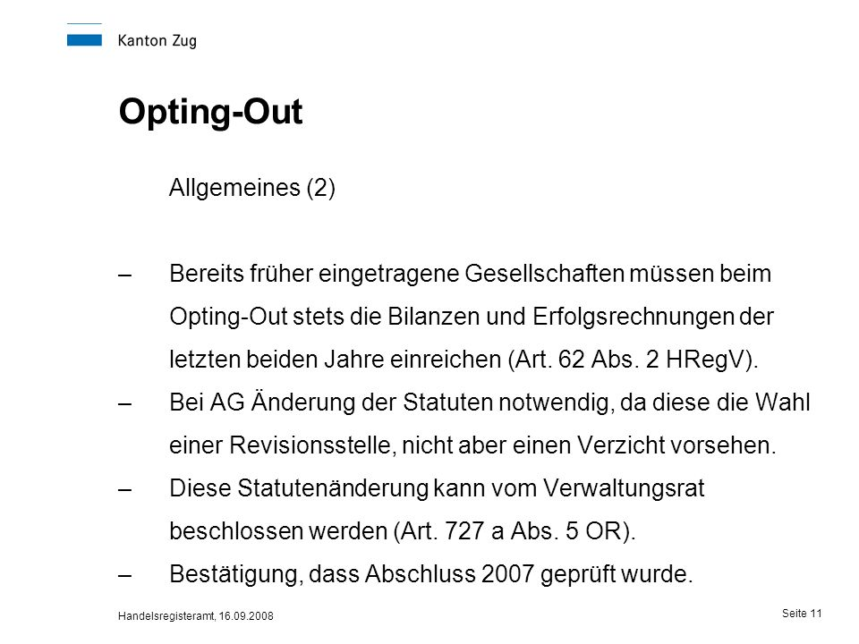 Allgemeines (2) Opting-Out