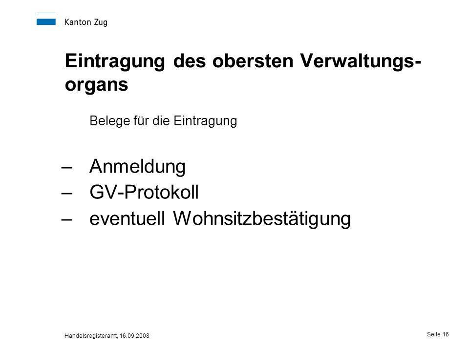 Eintragung des obersten Verwaltungs-organs