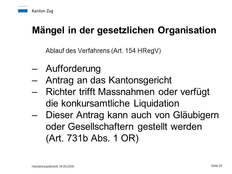 Mängel in der gesetzlichen Organisation