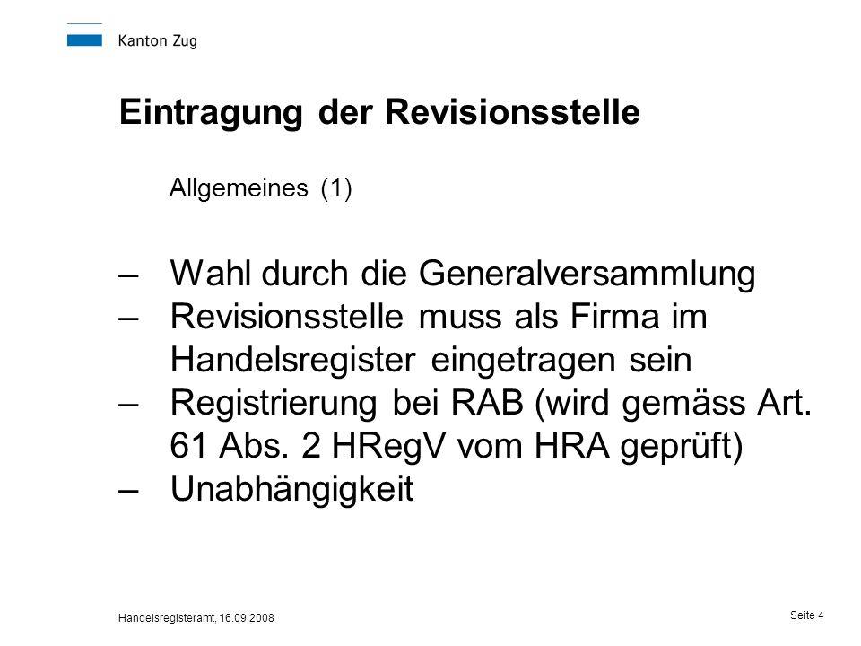 Eintragung der Revisionsstelle