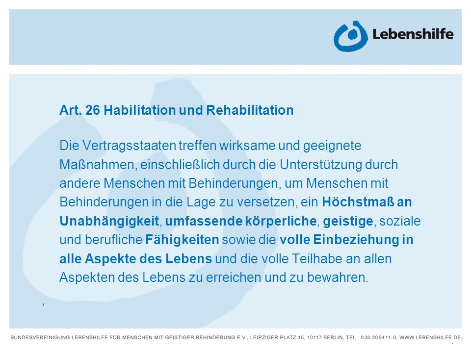 Art. 26 Habilitation und Rehabilitation